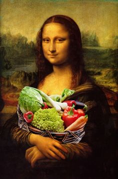 Mona Lisa Loves Vegetables Art Print