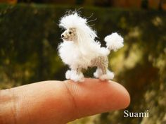 Miniature White Poodle 1 Inch - Tiny Crochet Micro Amigurumi Dog stuff Animal - Made To Order via Etsy