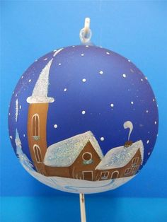 XL HAND-PAINTED GERMAN BLOWN GLASS BALL CHURCH & HOUSE WINTER SCENES HANDPAINTED