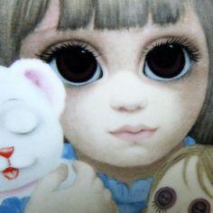 Big Eye Paintings by Keane | BIG EYE 1970s Margaret KEANE Plate Bedtime Little Girl Teddy Bear Doll ...