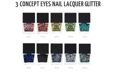 Bling out your nails with these shimmering 3CE Glitter Nail Lacquers. Shop at Eyecandys.com!  #eyecandys #nail #glitter #cute #pretty