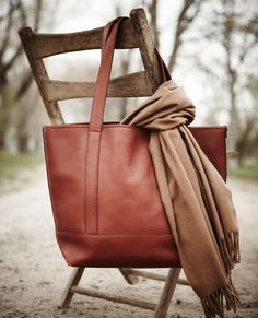 The perfect fall accessory — our classic tote in leather. Lands' Mark Geneva Tote