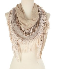Look what I found on #zulily! Light Khaki Lace Crochet-Trim Scarf by modern centers trade #zulilyfinds