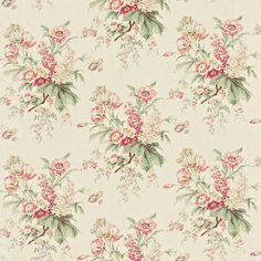 Tournier fabric in strawberry/cream from Richmond Hill fabrics collection by Sanderson