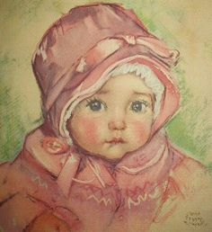 Baby in pink coat and hat -- by Maud Fangel  (American, 1881--1968)