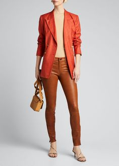 J Brand Leather Super Skinny Pants. Skinny Legs, Skinny Pants, Oversized Blazer, J Brand, Super Skinny, Fashion Brands, Brown, How To Wear, Leather