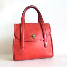 Red Vintage COACH  Leather  Hand Bag by pascalvintage on Etsy, $85.00
