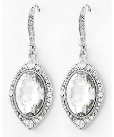 439647 Rhodiumized / Clear Glass & Clear Rhinestone / Lead&nickel Compliant / Dangle / Fish Hook Earring Set