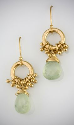 Items similar to Hoop Peg Earring w/ Prehnite on Etsy Pearl Jewelry, Diamond Jewelry, Gemstone Jewelry, Beaded Jewelry, Jewelery, Prom Jewelry, Jewelry Crafts, Jewelry Art, Jewelry Accessories