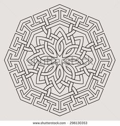Eight pointed circular abstract floral pattern. Mandala. Round vector ornament in Arabic style. Arabesque.