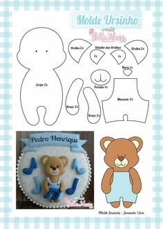Bear Felt, Felt Baby, Felt Crafts Patterns, Applique Patterns, Felt Templates, Felt Dolls, Stuffed Animal Patterns, Felt Ornaments, Baby Crafts