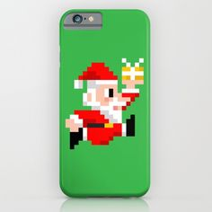 8-bit Christmas: Santa Claus iPhone and iPod Case. Because Santa beats Mario's High Score every year! (8bit art, graphics, pixels, retro gamer, video games, lol, funny, xmas, vintage, gift ideas, iphone case, ipod case)