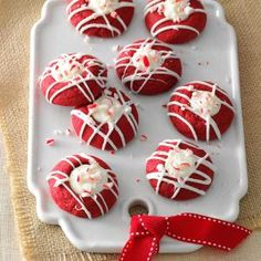 Red Velvet Peppermint Thumbprints Recipe -I love red velvet cookies and cakes but always wished they had more taste. So, for this thumbprint cookie, I added my favorite holiday flavor, peppermint.—Priscilla Yee, Concord, California