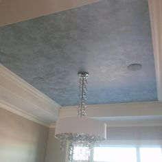 Three-tone metallic ceiling finish with Modern Masters Metallic Paint. Project by Leslie Redshaw.