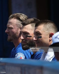 Troy Tulowitzki of the Toronto Blue Jays looks on from the top step of the dugout next to Kevin Pillar and Josh Donaldson during MLB game action against the Detroit Tigers on July 2016 at Rogers. Baseball Boys, Baseball Stuff, Baseball Players, Blue Jay Way, Go Blue, Kevin Pillar, Troy Tulowitzki, Josh Donaldson, Mlb Teams