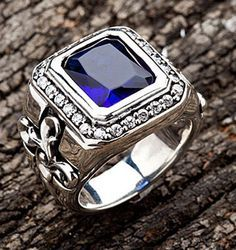 TRIBAL-CROSS-925-STERLING-SILVER-MENS-BAND-RING-Sz-10-NEW-BLUE-SAPPHIRE-ROCKER