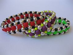 Bracelet Beaded Stretch Red Purple Fluro Green Black Crystal Coated Glass Swarovski Silver Metal Beads Gift For Her Christmas Gift by MillineryJewellery on Etsy