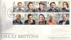 """First Day Cover issued on April 2013 featuring """"Great Britons """" First Day Covers, One Day, Commonwealth, Royal Mail, England, My Favorite Things, Movies, Movie Posters, Films"""