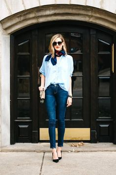 denim on denim outfit and neck scart