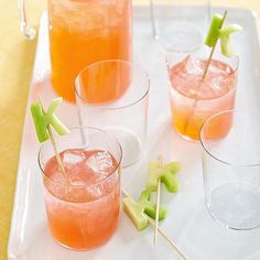 Better Homes and Gardens Use letter-shaped cookie cutters to make monogram melon drink garnishes! Fruit Garnish, Birthday Bar, Cocktail Garnish, Fruit Decorations, Bar Set Up, Party Food And Drinks, Halloween Food For Party, Shaped Cookie, Non Alcoholic