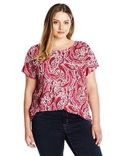 Lucky Brand Womens Plus Size Printed Paisley Top RedMulti 2X *** Want to know more, click on the image.