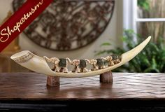 Carved Green Elephant Tusk Decorative Centerpiece