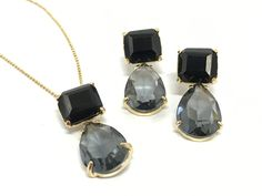 Obsidian with Smoky Quartz in 18k Gold Filled Earrings and Pendant Necklace by EloisaBarreto on Etsy