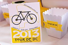 Alison from The English Pea Studio styled this fun bike racing party for her son's birthday party. Her son wanted a bike theme and what better race to mimic than the most famous bike race of them all…The Tour de France. The invitation was inspired by an actual Tour de France poster that Alison found …
