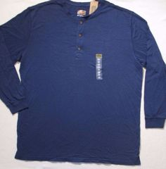 The Foundry Supply Men T Shirt 2XLT Blue Henley Long Sleeves Cotton 1701 #TheFoundrySupply #Henley