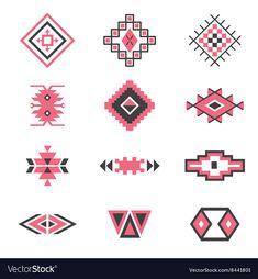 Symbols tribal design Ethnic motif Boho vector image on VectorStock Tribal Patterns, Beading Patterns, Quilt Patterns, Crochet Patterns, Motif Design, Pattern Design, Southwestern Quilts, Weaving Loom Diy, Folk Art Flowers