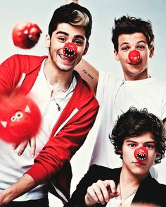 Zayn,Louis and Harry for the Red Nose Day
