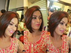 #pink #gold #red #makeup #hair #longbob
