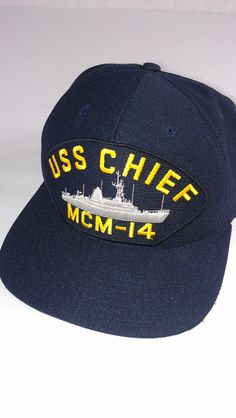USS Chief MCM 14 Vintage Snapback Hat Navy Mens by 1900sVintage