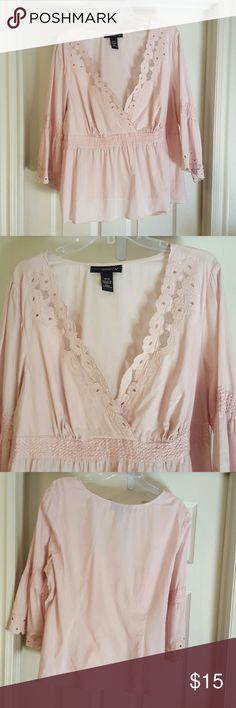 Delicate pink blouse Beautiful lace and embroidered scalloped detailing on decollatage and sleeves. Diamond paternity embroidery at waist and mid-arms. Venezia Tops Blouses
