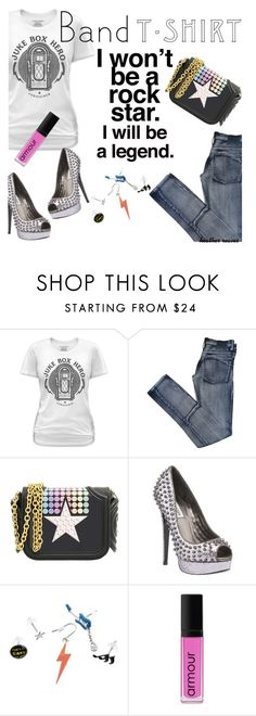 """""""I'm With the Band"""" by heather-reaves ❤ liked on Polyvore featuring Cheap Monday, Thomas Blakk, Steve Madden, Fit-to-Kill, Armour, bandtshirt and bandtee"""