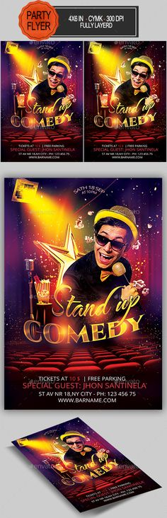 Comedy Show Flyer Template | Flyers, Flyer Template And Templates