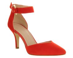 Office Gabby Two Part Court Red Suede - Mid Heels