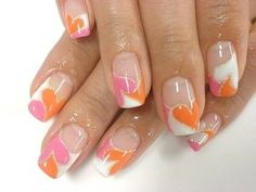 Cute Nail Art in pink, orange and white! (French style) ♥
