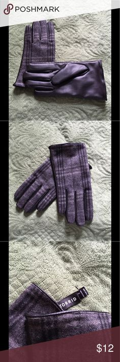 Torrid Plus Size Gloves Torrid plus size gloves. NWOT. These are made for a larger size hand. It is so frustrating to try to find a nice pair of gloves to fit a larger hand. Well these will. Faux leather on one side and plaid wool on the other side. You will love them torrid Accessories Gloves & Mittens