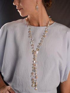 Grace Lemon Topaz Pearl Lariat – Harmony Scott Jewelry Design Handmade Pearl Jewelry, Handmade Necklaces, Gemstone Jewelry, Pearl Necklaces, Antique Jewelry, Leather Earrings, Beaded Earrings, Stud Earrings, Lariat Necklace