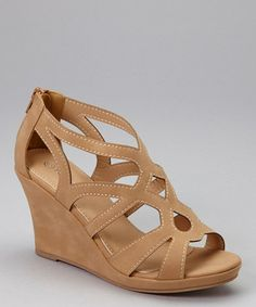 b3c3b3745056 Tan Hourglass Strap Wedge Sandal - zulily.com Cute Shoes Boots