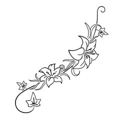 Lilies And Ivy Tattoo Image Tattooing Designs Hand Tattoos, Flower Tattoos, Leaf Tattoos, Tribal Tattoos, Belly Tattoos, Ivy Tattoo, Blatt Tattoos, Tattoo Sites, Gaming Tattoo