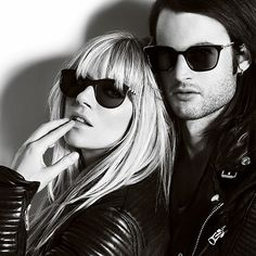 Sienna Miller and Tom Sturridge wearing Burberry Sunglasses and relaxed leather jackets in the new A/W13 campaign