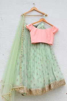 Buy Amazing Mint Green Colored Partywear Embroidered Georgette Lehenga Choli at Rs. Get Lehenga for womens at Peachmode. New Lehenga Choli, Green Lehenga, Lehnga Dress, Indian Lehenga, Bridal Lehenga, Ethnic Outfits, Indian Outfits, Simple Lehenga, Bridal Skirts