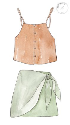 Good objects - Summer outfit orange top and green skirt Dress Design Drawing, Dress Design Sketches, Fashion Design Drawings, Dress Drawing, Fashion Sketches, Fashion Drawing Dresses, Fashion Illustration Dresses, Drawing Fashion, Fashion Art