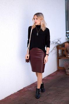 Bordeaux Leather Skirt