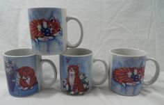 Set of Four (4) Coffee Mugs Featuring Kittens. Adorable kittens! 3 different patterns. 12 oz Size. Special consideration will be made if the problem with your order was a mistake on our part. What could be a better gift for the cat lover in your life! | eBay!