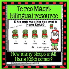 "E hia nga moe?Are you looking for something with a christmas flavour which has some te reo phrases and kupu Maori (maori words) included?This fun learning activity comes with:*Counting 1-10 teachers colour book (can be enlarged to A3)*Counting from 1-10 with 10 pages of counting and colouring.*Waiata ""Kei te haere mai a Hana Kk""*Counting down practice with Hana Kk*How many?....practiceSaw it used with great enthusiasm in a class last week :-) Receive free TPT credits to use on future…"