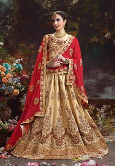 Beige A line wedding designer Indian Punjabi Lehnga choli in silk