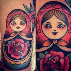 tattoo old school / traditional ink - matryoshka (by Federica Marsh Mallows)
